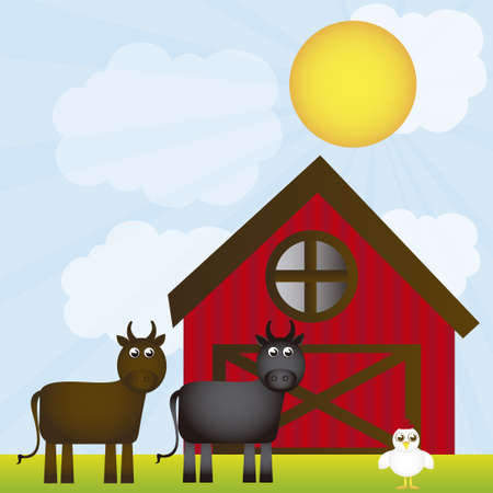 bales: farm with animals over landscape background. vector Illustration