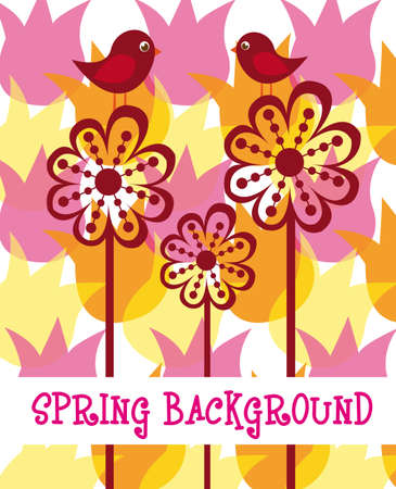 spring with birds and abstract flowers background. vector Stock Vector - 10768634