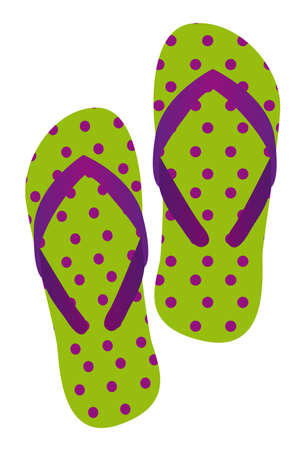 slippers: cute flip flops isolated over white background. vector Illustration