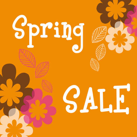 spring sale with flowers and leaves over orange background. vector Stock Vector - 10768622