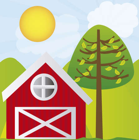 shed: cute farm with tree and mountains over landscape background. vector