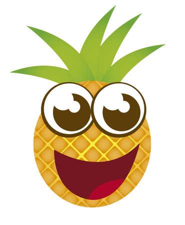 frutas divertidas: dibujos animados de pi�a aisladas sobre fondo blanco. vector