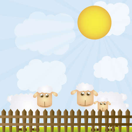 vector sheeps with wooden grid over landscape background Stock Vector - 10768574
