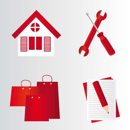 red house, tools, bags,pencil,folder over gray and white background. vector Stock Vector - 10768577