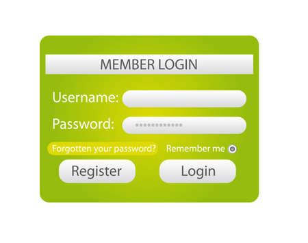 green and white member login web isolated over white background. vector Vector