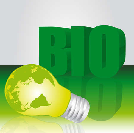 green electric bulb and bio text over green background. vector Vector