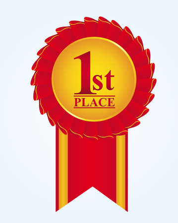 market place: red and gold rosette with first place text over blue background. vector Illustration