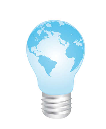 electric green: blue electric bulb earth over white background. vector