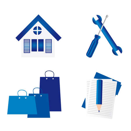blue house, tools, bags,pencil,folder over  white background. vector Vector
