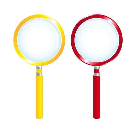 adn: amarillo adn lupa rojo aislado sobre fondo blanco. vector