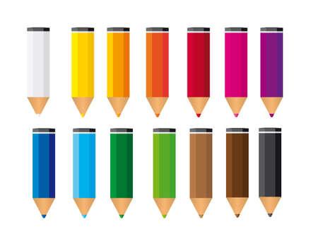 leíró szín: kis színes ceruzák elszigetelt fölött fehér háttér. vektor