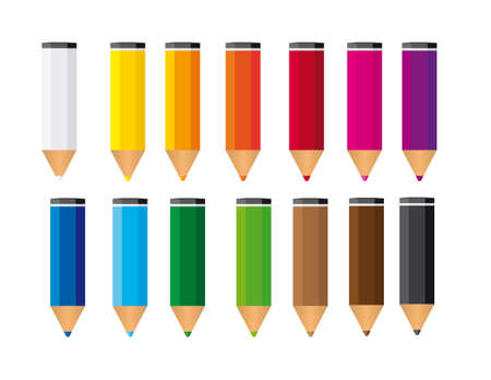 descriptive colors: small colored pencils isolated over white background. vector Illustration