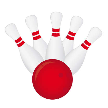 alleys: white and red bowling isolated over white background. vector