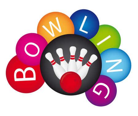 kegelen: kleurrijke bowling geïsoleerd over een witte achtergrond. vector