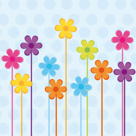 colorful cute flowers over blue background . vector Vector