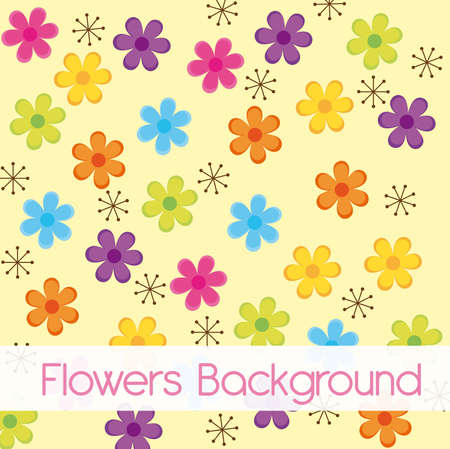 anniversary flowers: colorful flowers cartoons over beige background. vector Illustration