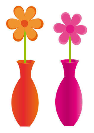 cute flower with vase isolated over white background. vector Stock Vector - 10768244