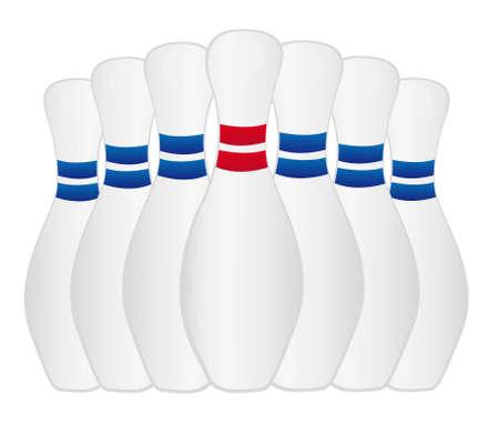 pin: bolos de rojo y azul aisladas sobre fondo blanco. Vector Vectores
