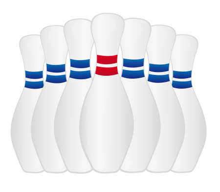 red and blue bowling isolated over white background. vector Vector