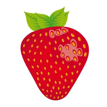 fresa: dibujos animados de fresa aisladas sobre fondo blanco. vector