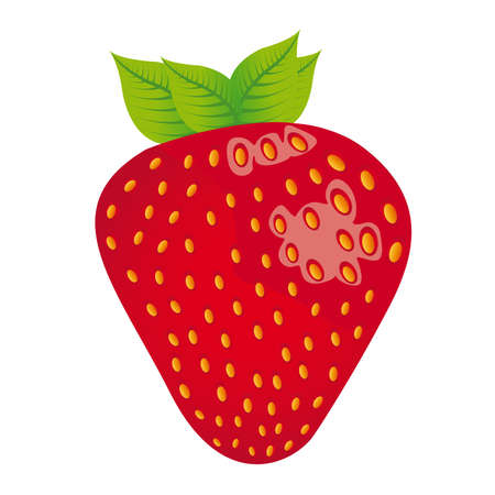 cartoon strawberry: strawberry cartoon isolated over white background. vector Illustration