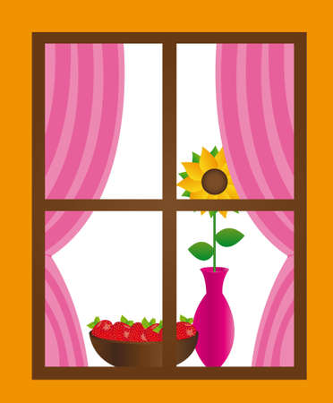 open day: window with curtain,flower, vase,strawberry background. vector Illustration