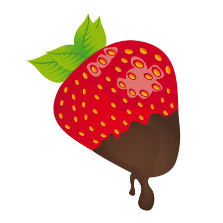 strawberry with chocolate isolated over white background. vector Vector