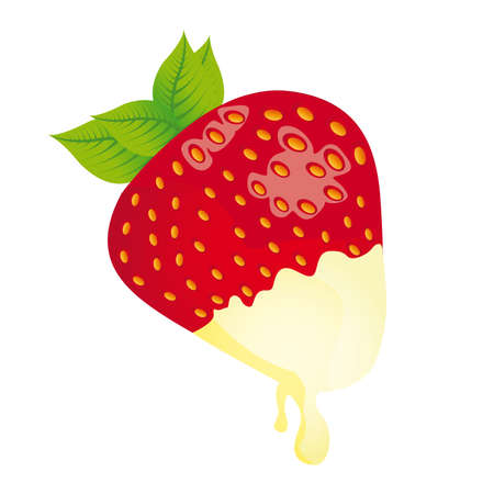 straberry with white chocolate isolated over white background. vector Vector