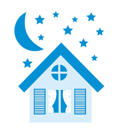 blue house,moon,stars isolated over white background. vector