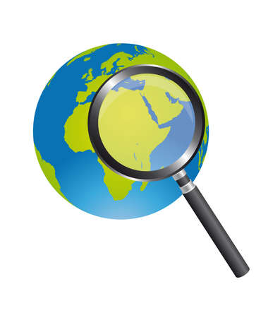 black magnifying glass and green and blue earth isolated over white background. vector Vector