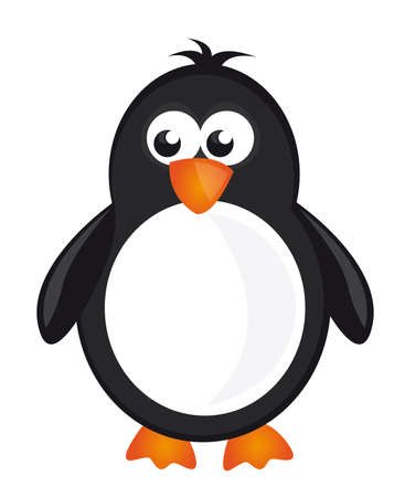 cartoon penguin: black,white and orange penguin isolate over white background. vector