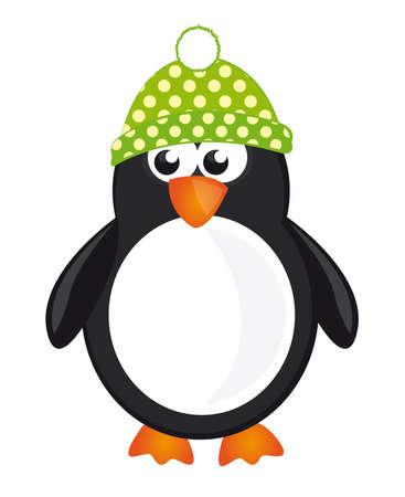 rozkošný: černá, bílá a zelená tučňák izolovat na bílém pozadí. vektor