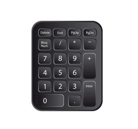 teclado numerico: número del teclado en blanco y negro aislado sobre fondo blanco. vector Vectores