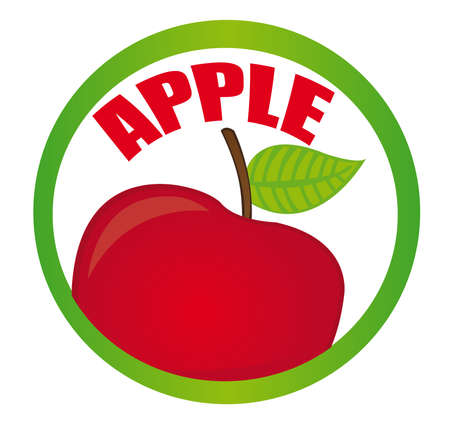 red and green circular apple sticker isolated over white background. vector