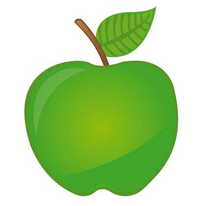 manzana caricatura: caricatura de manzana verde aislada sobre fondo blanco. Vector