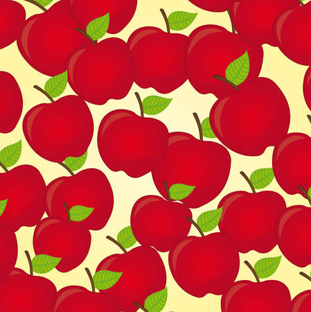 red apples with leafs over beige background. vector Vector