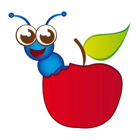 lombriz: Manzana Roja y dibujos animados de gusano azul aisladas sobre fondo blanco. Vector Vectores