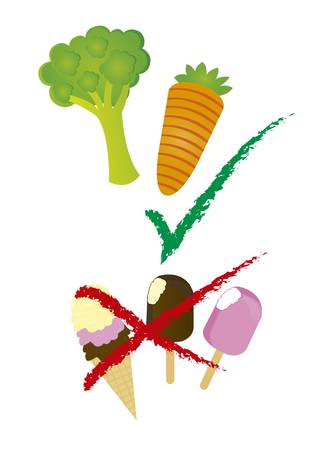 vegetables and ice cream cartoon isolated over white background. vector Stock Vector - 10851290
