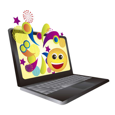 laptop with surprise wallpaper isolated over white background.vector Vector