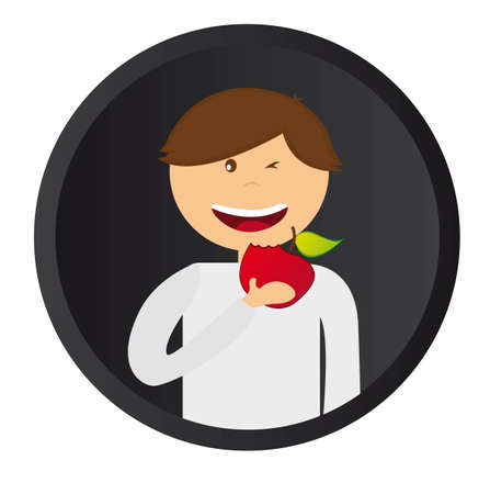 over eating: hapyy  man eating an apple over black circle background. vector