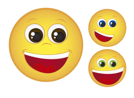 yellow happy face isolated over white background. vector Vector