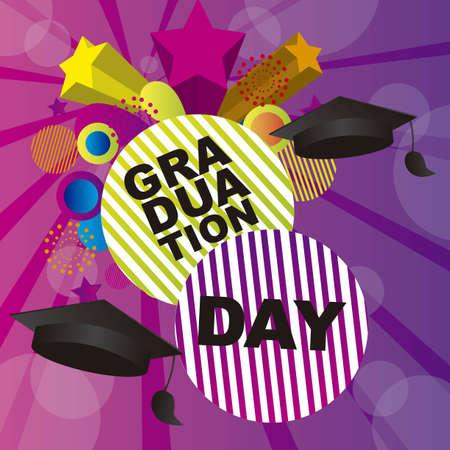 gorros de graduacion: Ilustraci�n del d�a de graduaci�n sobre fondo morado. vector Vectores