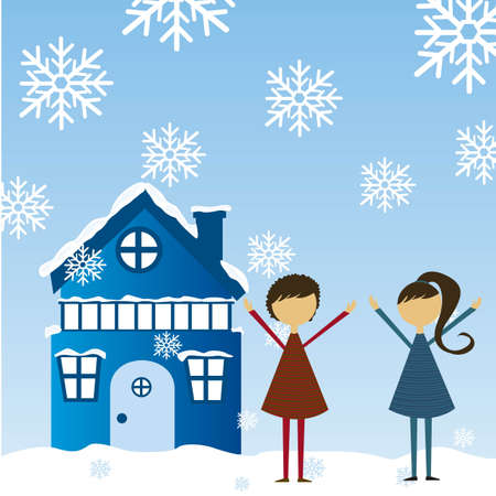 child girls by side of the blue house with snow. vector Vector