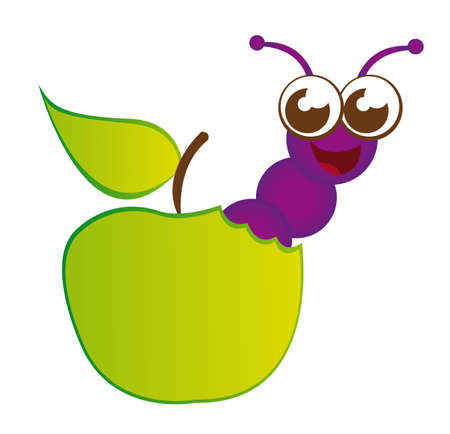 apple worm: green apple and purple worm cartoon isolated over white background. vector