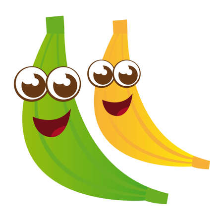 yellow and green bananas cartoons isolated. vector Vector