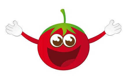 red tomato cartoon with hands isolated over white background. vector Vector
