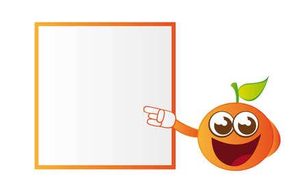 naranja caricatura: dibujos animados de color naranja con espacio de publicidad aislados sobre fondo blanco. vector