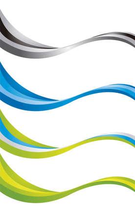 lineas onduladas: de onda de colores aislados sobre fondo blanco. vector Vectores