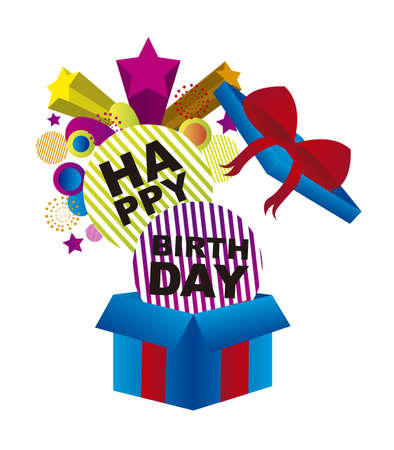 party poppers: gift box with surprise happy birthday isolated over white background. vector