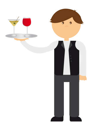 restaurant staff: waiter cartoon with wine cups isolated over white background. vector